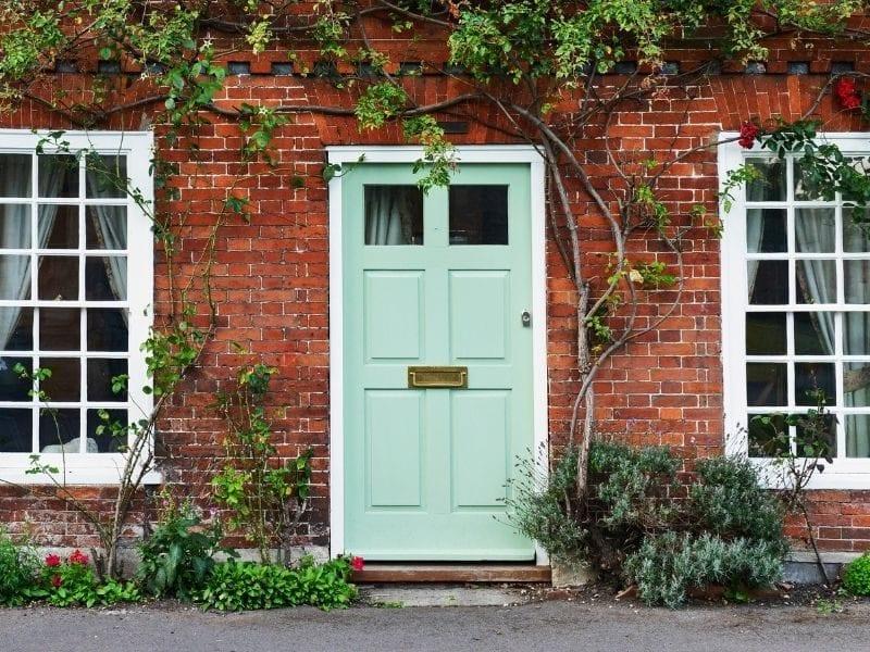 Modern green front door - JTD